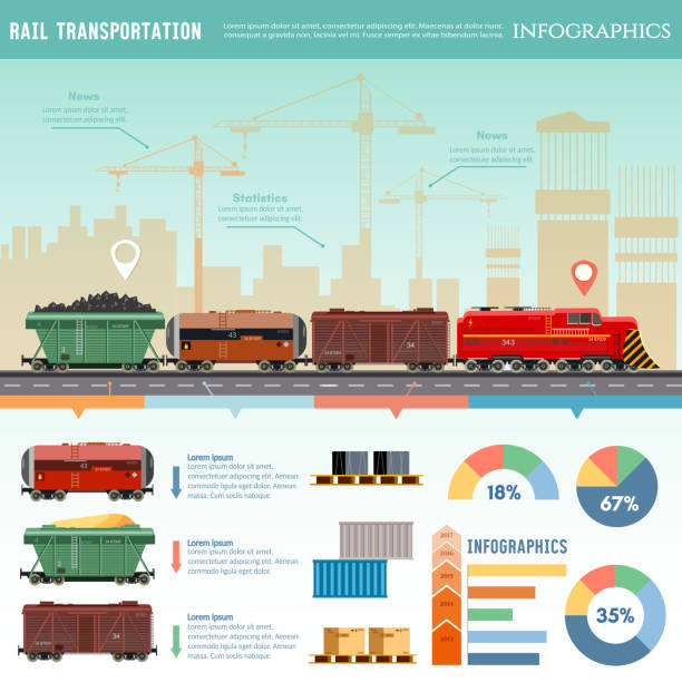 Freight trains wagonst flat design presentation. Cargo train vector art illustration