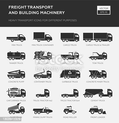 Heavy transport icons for different purpose.