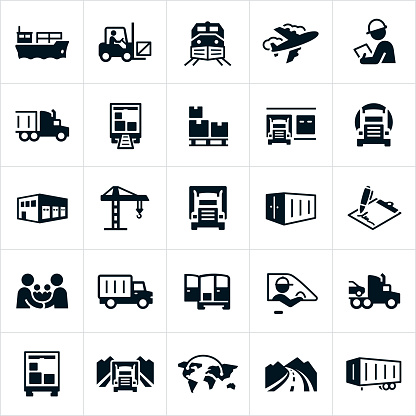 A set of freight and cargo transport icons. The icons show methods of transport including air transport, barge, rail, semi-truck and other shipping methods. They also include a forklift, warehouse, freight train, airplane, delivery truck, packages, palette, crane, inspector, a handshake between two people, a delivery van, a driver, open road and cargo container to name just a few.