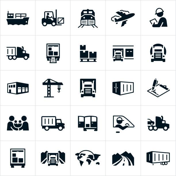 ikony transportu towarowego - przewóz stock illustrations