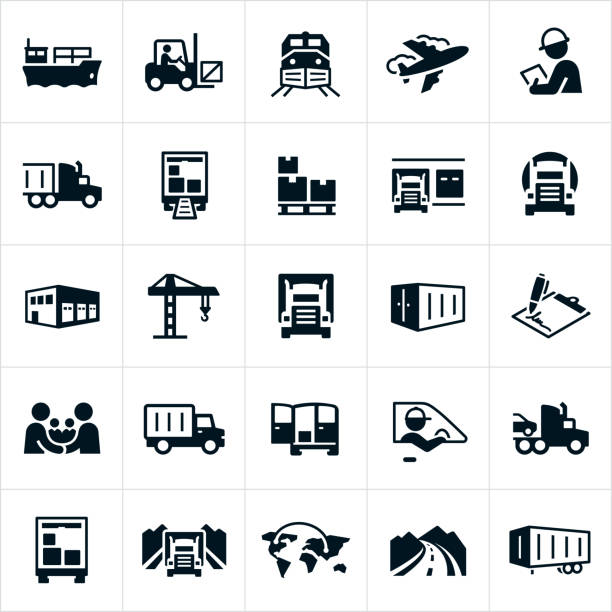 freight transport icons - warehouse stock illustrations