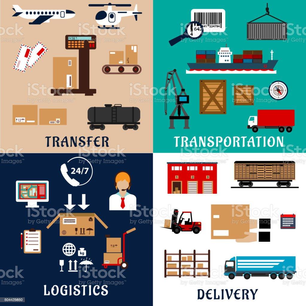 De transport de marchandises et logistique icônes plat - Illustration vectorielle