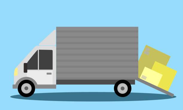 藍色背景的貨運卡車 - 國際比賽 幅插畫檔、美工圖案、卡通及圖標