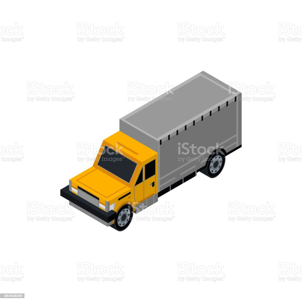 貨車等距3D 元件 - 免版稅Low-Poly-Modelling圖庫向量圖形