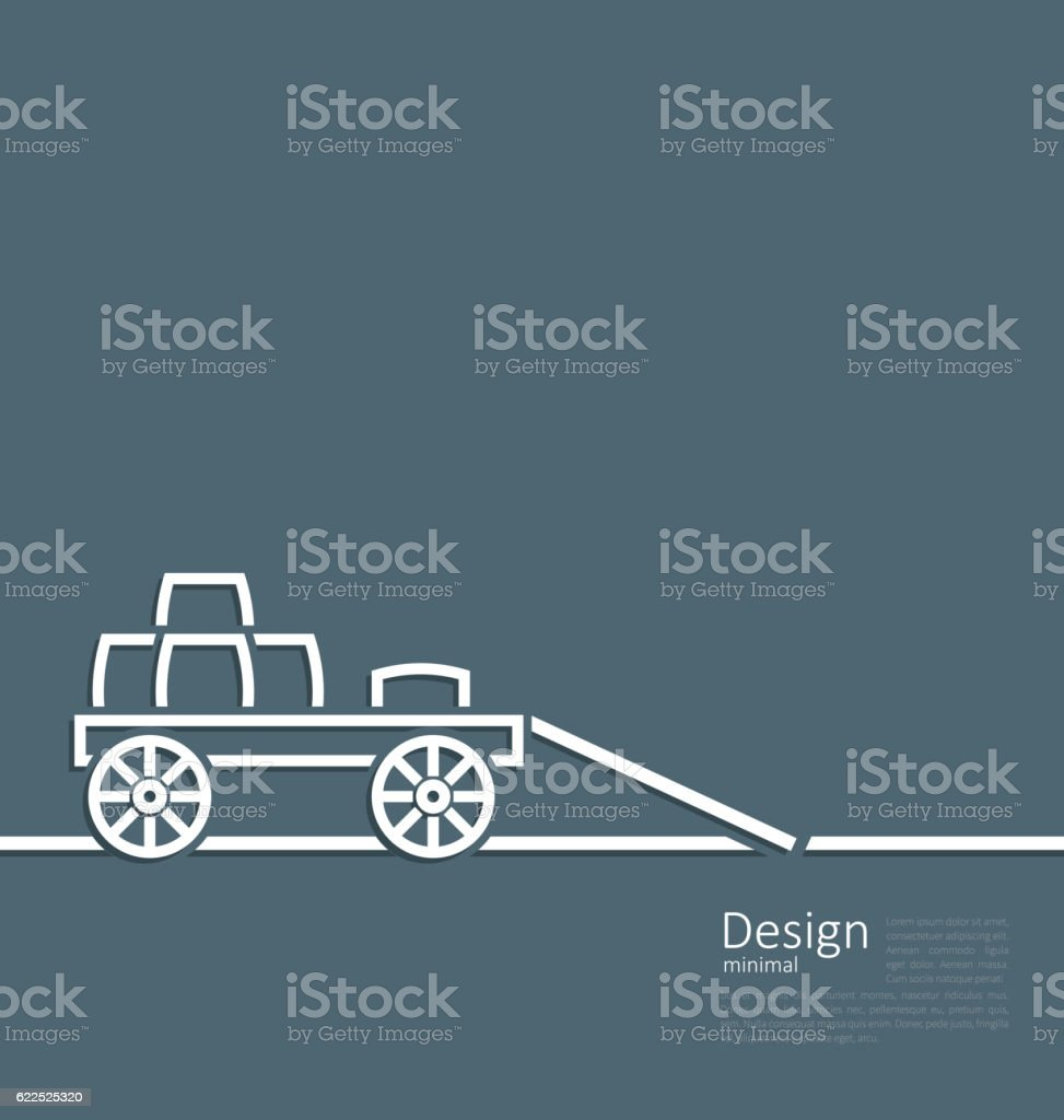 Freight wagon cartage loaded with wine casks vector art illustration