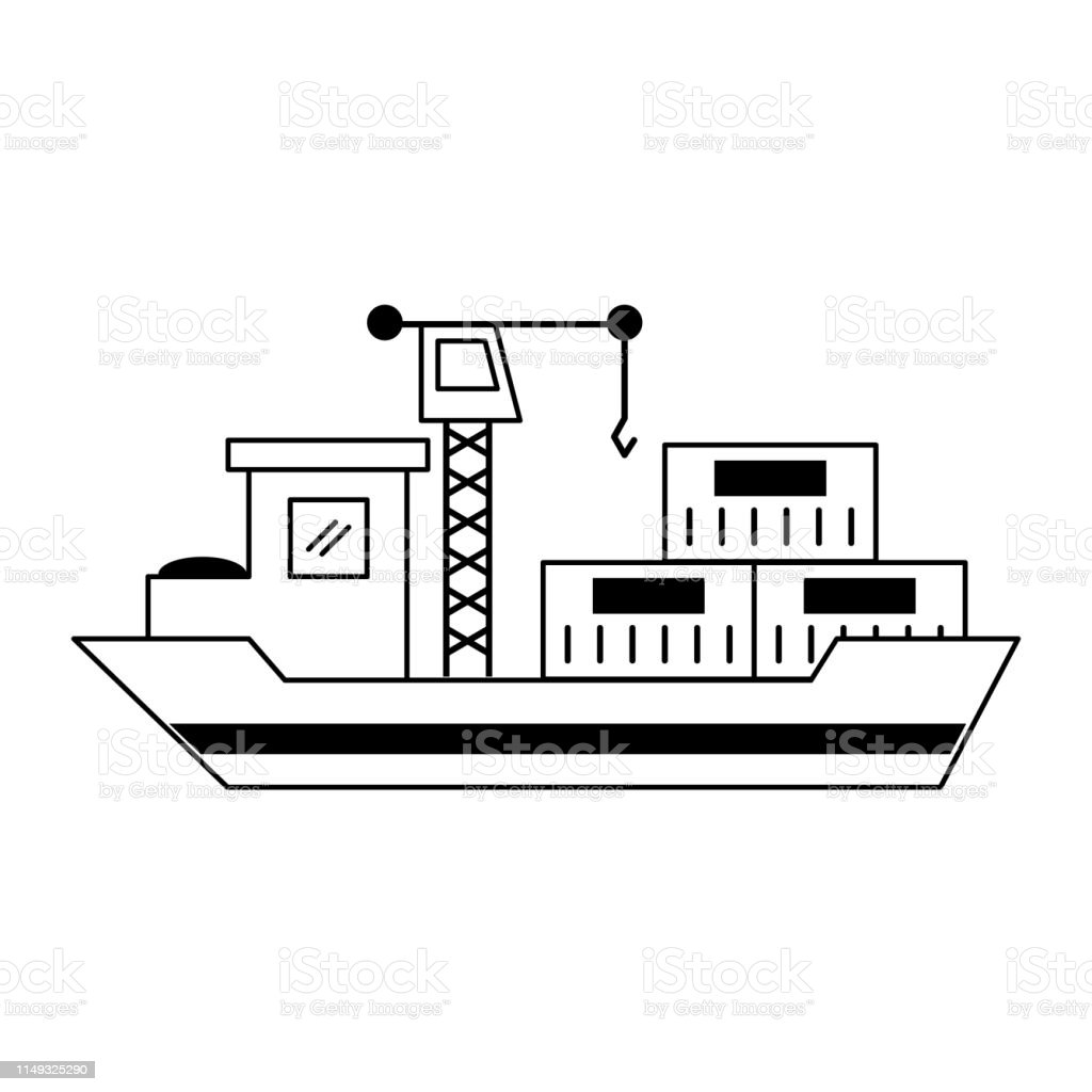 Freighter ship with containers and crane vector illustration graphic...