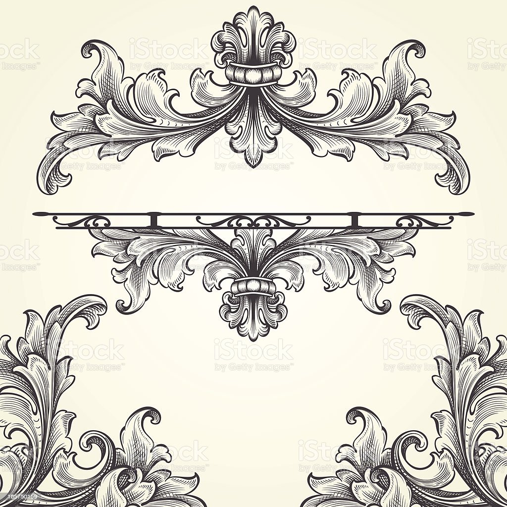 French Acanthus Engraving Set royalty-free french acanthus engraving set stock vector art & more images of 2000-2009