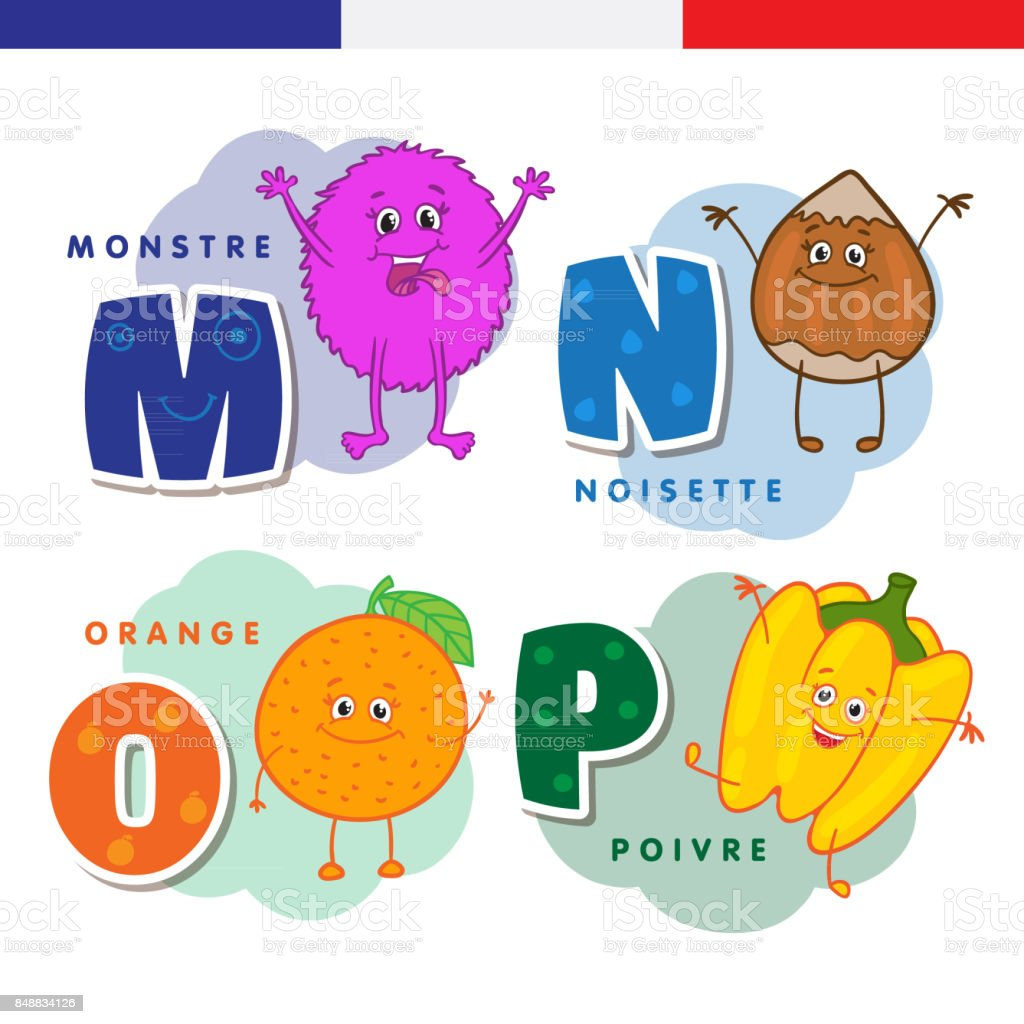 French alphabet. Monster, hazelnuts, orange, pepper. Vector letters and characters. vector art illustration