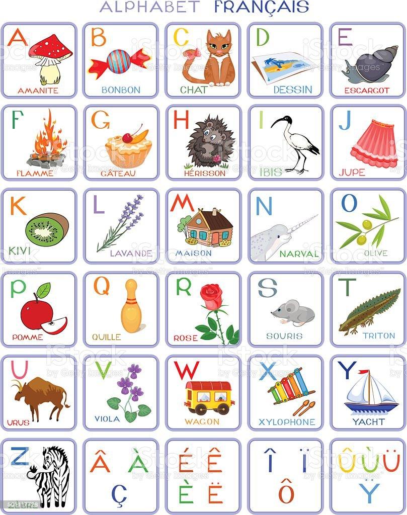 French alphabet with pictures stock vector art more - L alphabet en francais a imprimer ...