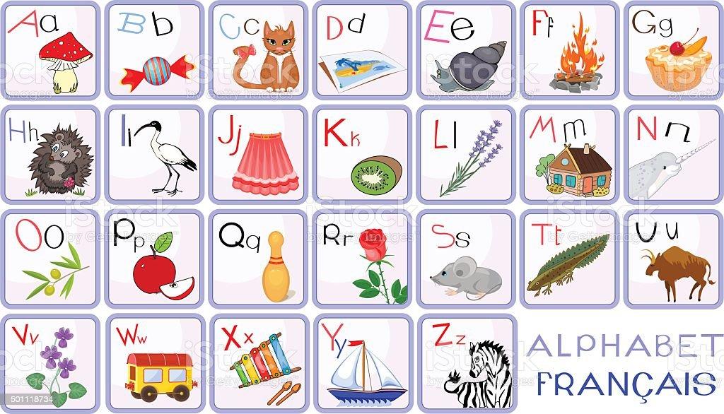 Fran ais alphabet avec des photos cliparts vectoriels et - Alphabet francais maternelle ...