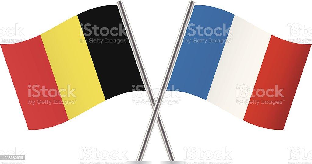 Bandiera Francese E Belga Vettore Immagini Vettoriali Stock E