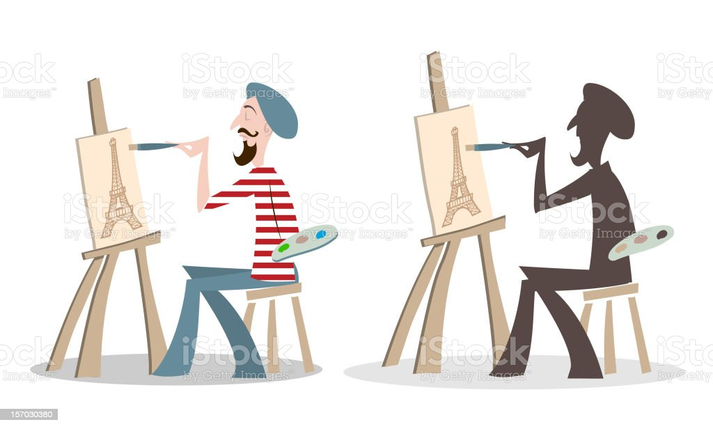 French Artist painting the Eiffel Tower royalty-free stock vector art