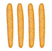 French baguette bread. Fresh baking. Set of tasty food. Baked goods for lunch. Traditional meal. Bakery for breakfast. Isolated white background. Eps10 vector illustration.