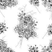 French bouquet contour seamless vector pattern