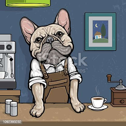 french bulldog barista with a cup of coffee looking at camera