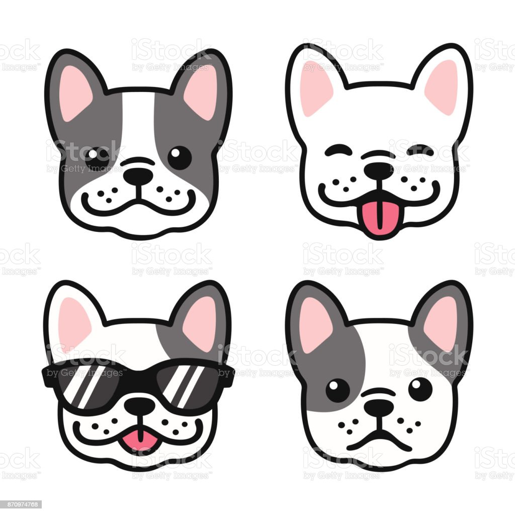 French Bulldog face set vector art illustration