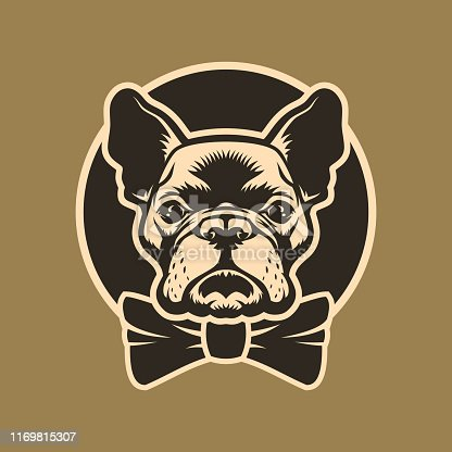 French bulldog head outline silhouette with bow-tie - round vector emblem