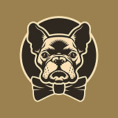 French bulldog head with bow-tie in circle