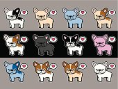 Mobile app icon-styled french bulldog illustrations in a variety of colors and flaves. Each individual version comes in GIF, PNG, and JPG format separate from the background. Vector versions are grouped separately from background too.  Get your Frenchie on!