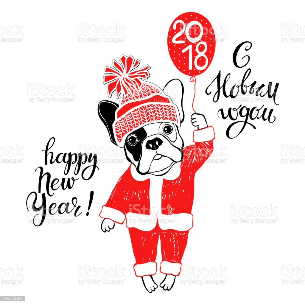 French bulldog in santa claus costume and wishes for the new year in french bulldog in santa claus costume and wishes for the new year in russian and english kristyandbryce Image collections