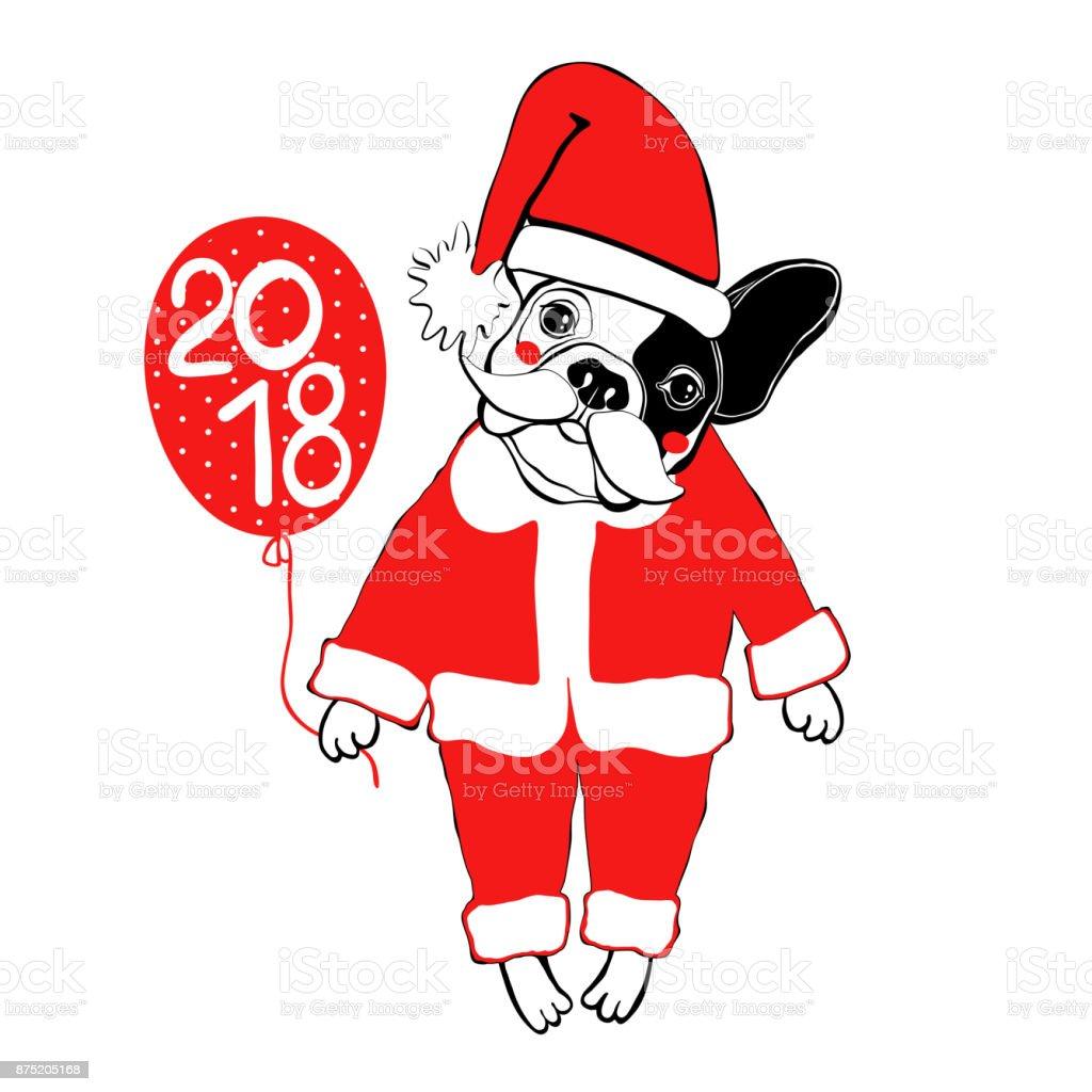 french bulldog in santa claus costume vector illustration isolated rh istockphoto com Christmas Bulldog Puppies Dog with Santa Hat