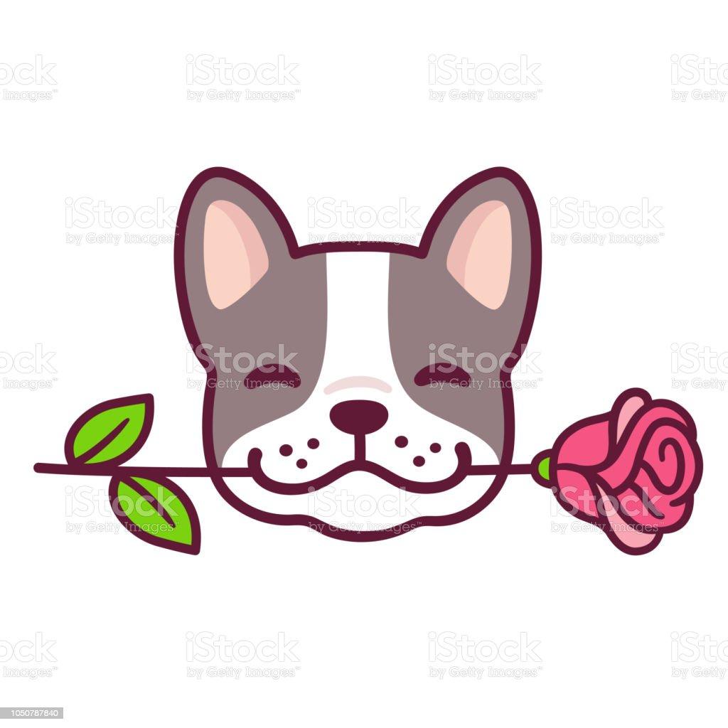 French Bulldog with rose vector art illustration