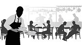 Silhouette illustration of a waiter in a busy restaurant
