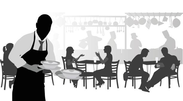 French Cafe Server Silhouette illustration of a waiter in a busy restaurant cooking silhouettes stock illustrations