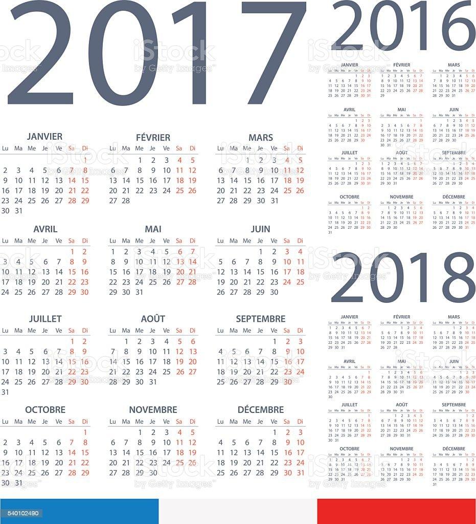 French Calendar 2017 2016 2018 Illustration stock vector ...
