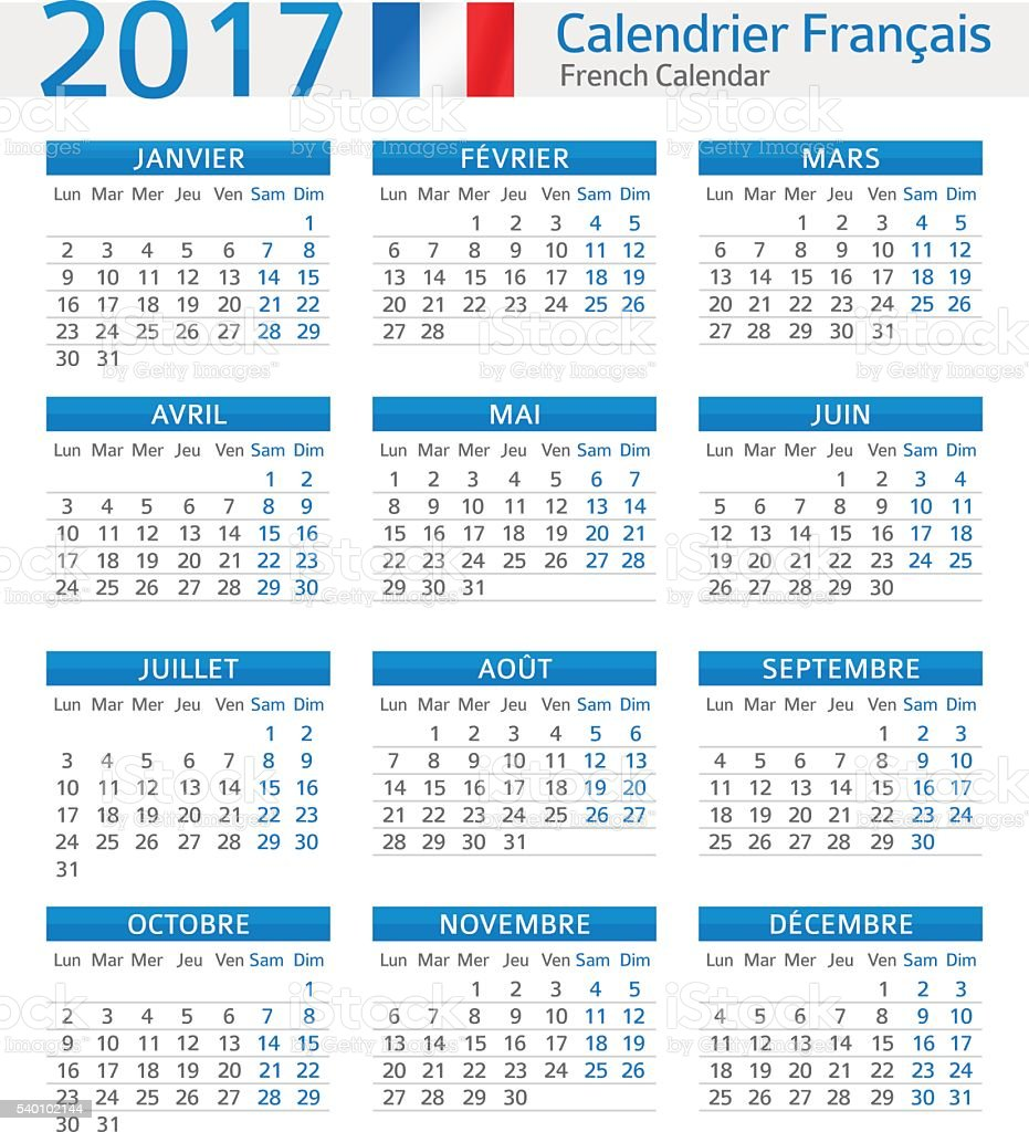 Illustration Calendrier.French Calendar 2017 Calendrier Francais 2017 Stock Illustration Download Image Now