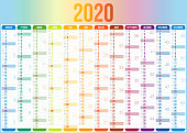 Calendar 2020 - French version (version française). Need another version, another year... Check my portfolio. Vector Illustration (EPS10, well layered and grouped). Easy to edit, manipulate, resize or colorize.