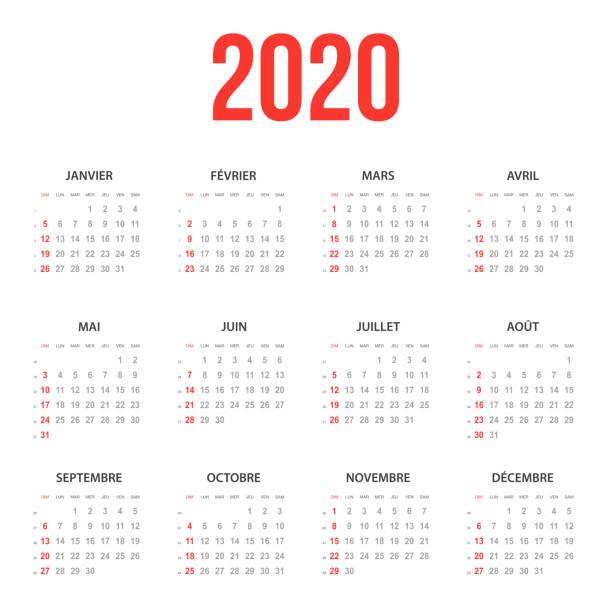 French Calendar 2020 vector art illustration
