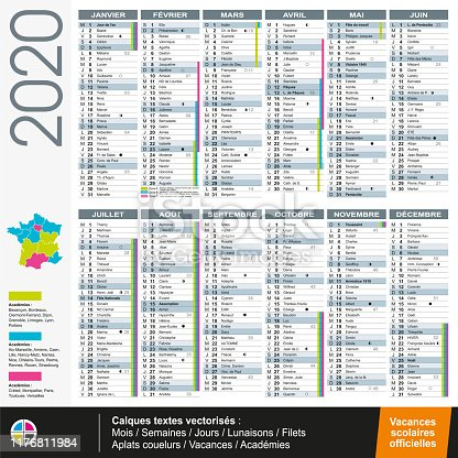 Calendar 2020 in franch language with official scholl vacation - Vectorized texts