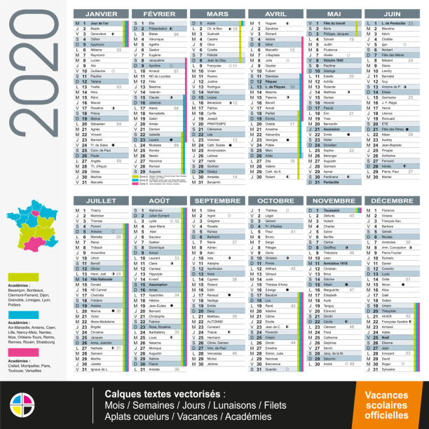 French calendar 2020 with official holidays - Vectorized texts Calendar 2020 in franch language with official scholl vacation - Vectorized texts french language stock illustrations