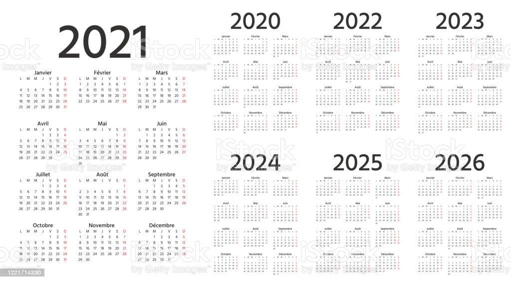 Français Calendrier 2021 2022 2023 2024 2025 2026 2020 Ans