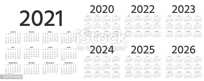 istock French Calendar 2021, 2022, 2023, 2024, 2025, 2026, 2020 years. Vector illustration. Template planner. 1221914532
