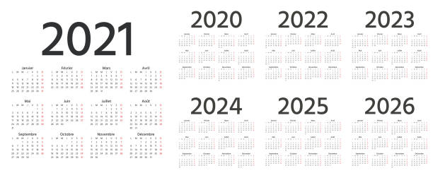 French Calendar 2021, 2022, 2023, 2024, 2025, 2026, 2020 years. Vector illustration. Template planner. French Calendar 2021, 2022, 2023, 2024, 2025, 2026, 2020 years. Vector. Week starts Monday. France calender template. Yearly stationery organizer. Minimal design. Simple illustration, french language. french language stock illustrations