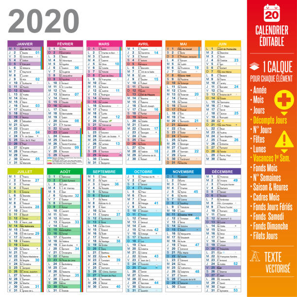 2020 french calendar - Easy to customize 2020 french calendar easy to customize - One layer for each element. french language stock illustrations