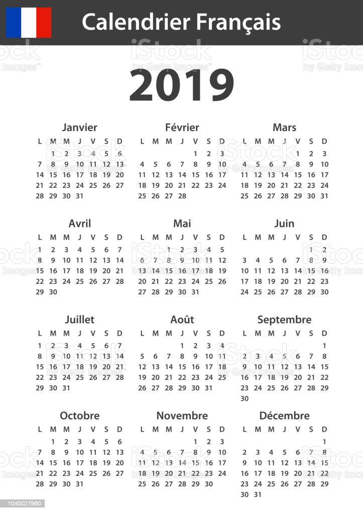 Calendario Diario 2019.Ilustracion De Calendario Frances Para 2019 Plantilla De