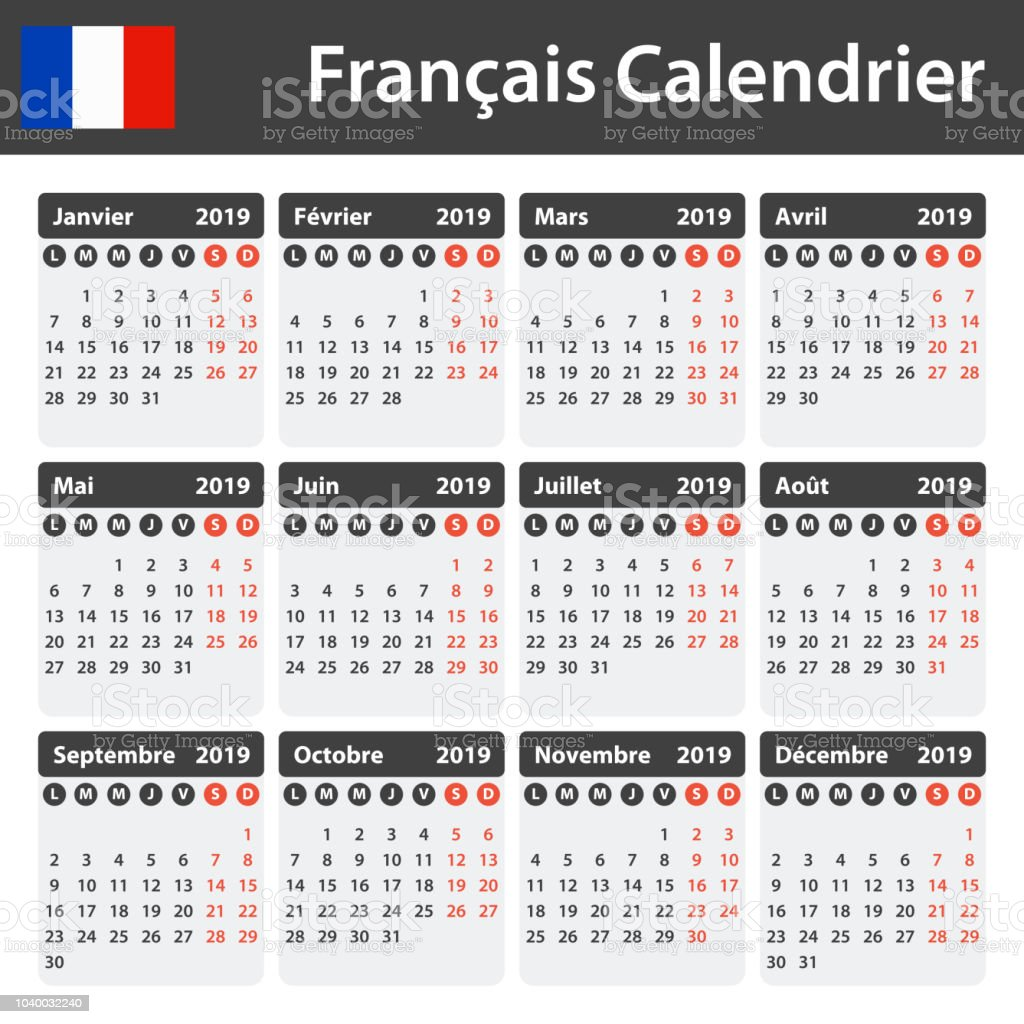 French Calendar For 2019 Scheduler Agenda Or Diary Template Week