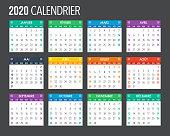 2020 French Calendar Template Design