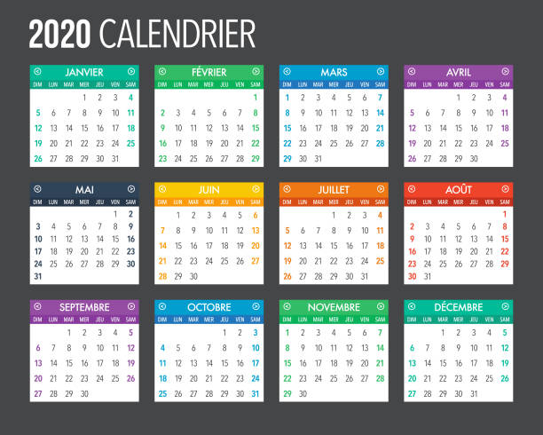2020 French Calendar Template Design A calendar design template for the year 2020. File is built in CMYK for optimal printing. french language stock illustrations