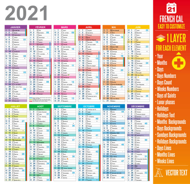 2021 French Calendar Template - Easy to customize 2021 french calendar template easy to customize : One layer for each element. french language stock illustrations