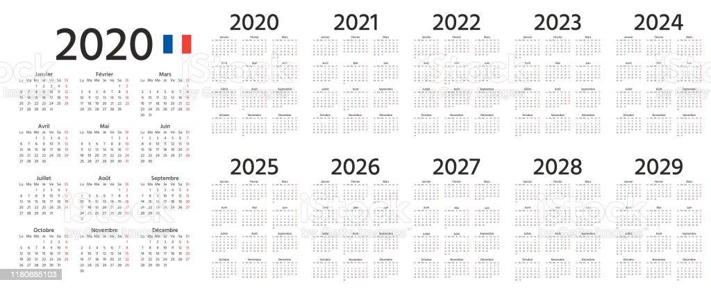 2020 2021 2022 Français Calendrier Illustration De Vecteur