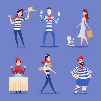 French characters. Authentic national france people paris festival symbols happy smile male and female persons exact vector flat cartoon illustrations set