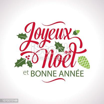 istock French Christmas Joyeux Noël Lettering Text 1070070168