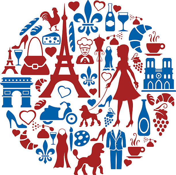 French Collage High Resolution JPG,CS6 AI and Illustrator EPS 10 included. Each element is named,grouped and layered separately. Very easy to edit.  french culture stock illustrations