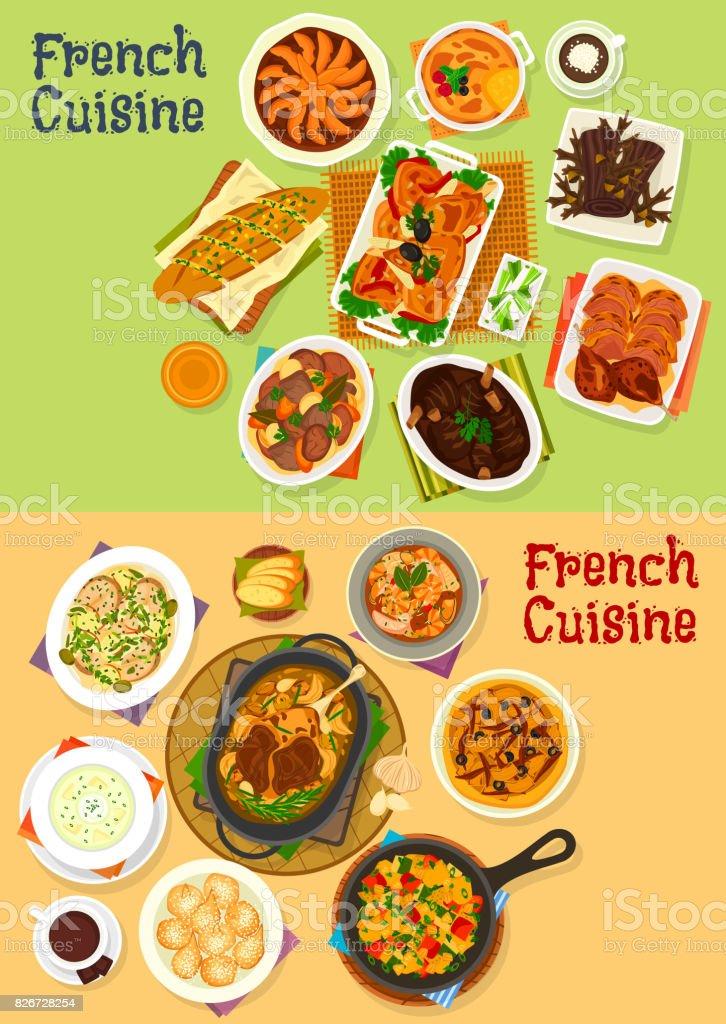 Französische Küche Abendessen Symbolsatz für Menü-design – Vektorgrafik