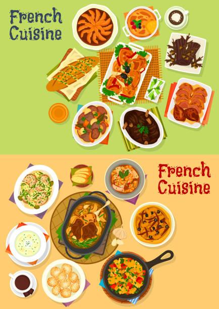 French cuisine dinner icon set for menu design vector art illustration