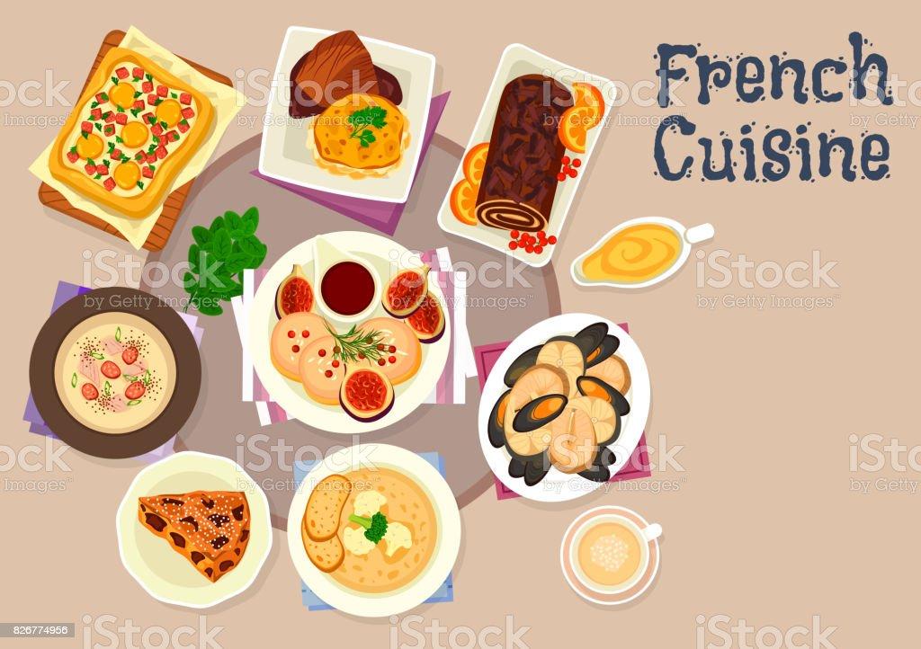 Festliches Abendessen französische Küche Gerichte Icon-design – Vektorgrafik